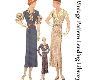1933 Ladies Frock With Three Sleeve Options - Reproduction Sewing Pattern #T7451