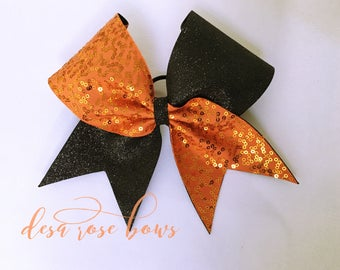 Orange and Black Tick Tock Bow
