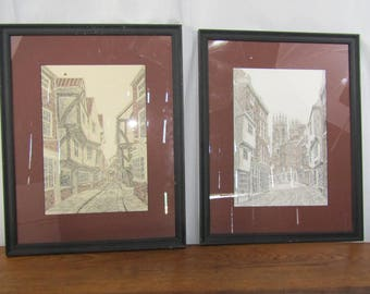 Pair of vintage hand tinted prints by D.A. Heald