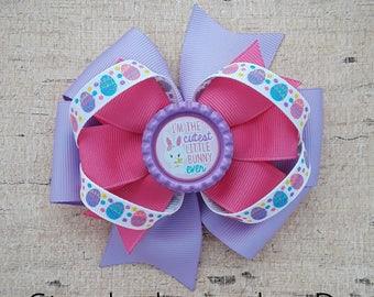 Purple Easter Bunny Pinwheel Bow