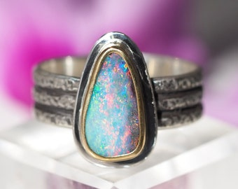 Sterling Silver 22K Gold Australian Boulder Opal ring - Opal Ring - US size 9 - Opal promise ring - wide band opal ring