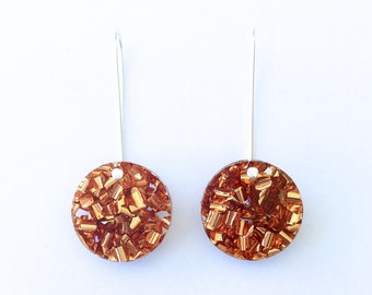 Round  Glitter Drops - Rose Gold Glitter - Small - Each To Own - Laser Cut Drop Earrings