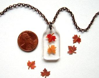 Falling Mini Maple Leaves - Real Autumn Leaves Necklace - botanical jewelry, maple leaves necklace, Autumn necklace, Canada, woodland, ooak