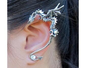 Dragon Ear Wrap Silver - Dragon Ear Cuff - Dragon Earring Dragon Jewelry - Silver Classic Dragon Ear Wrap - Game of Thrones Inspired Jewelry