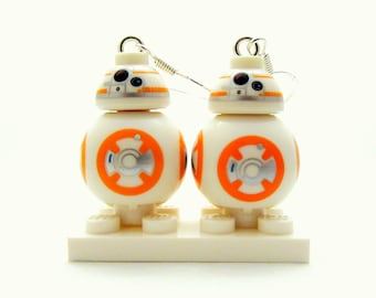 BB-8® Inspired Earrings -or- Necklace Star Wars® Fan Art - Sterling Silver - Fan Art Crafted From LEGO® Elements