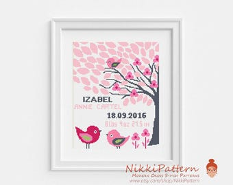Baby Cross Stitch Pattern Birth Announcement DIY Customizable Record Embroidery Chart Personalized Baby Shower Gift Cute Girl Birds Animal