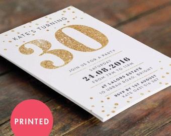 Printed Gold Sparkle 30th Birthday Invitation A6 (105 X 148mm)