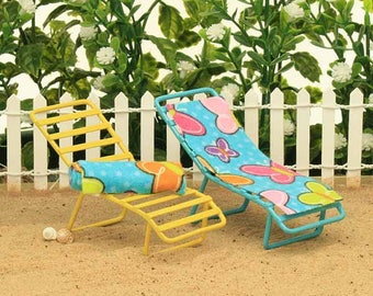 Beach Sun Lounger, Beach Sun Chair, Fairy Garden Summer Furniture, Garden Furniture, Patio Furniture for Mini Garden, Accessories