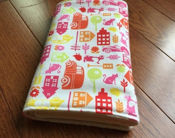 Burp Cloth - Baby Gift - Made to Order- Pink Orange Red Yellow Green Modern print - Modern Baby - Eco Friendly Baby - Burpie - Baby Shower