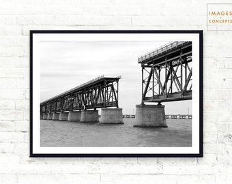 Architecture Photo - Key West Bridge - Black and White Poster - Architecture Art - Instant Download - Printable Art - Key West Print