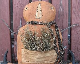 Purcee Pumpkin EPATTERN - primitive country halloween pumpkin head cloth doll craft digital download sewing pattern - PDF - 1.99