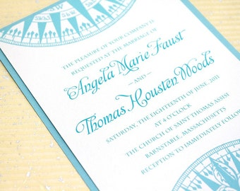 Aqua Compass Invitations for your Nautical Wedding