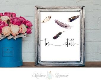 be still Feather printable art Watercolor Feathers Art Print Wall Art Home Decor Modern Art Poster Zen Art Print