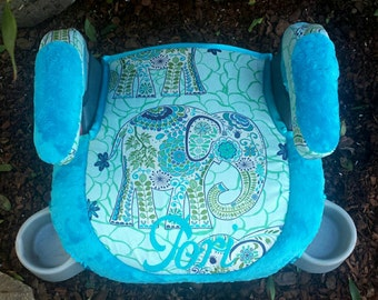 Beautiful boy or girl car Booster seat turquoise minky dot colorful elephant theme reupholstered handle covers elegant high quality custom