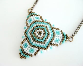 Peyote Triangle Pendant / Beaded Necklace in Turquoise, Brown and White /   Seed Bead Pendat / Geometric Pendant / Beaded Triangle Pendant