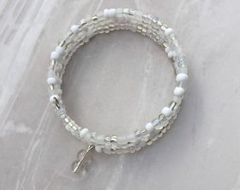 White Beaded Memory wire bracelet, beaded wrap bracelet, beaded bracelet, stacking bracelet, beaded cuff