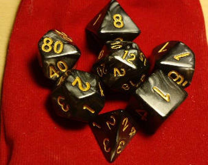 Obsidian Gold - 7 Die Polyhedral Set with Pouch
