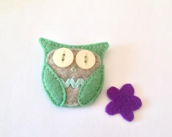 Felt Owl Brooch - Minty
