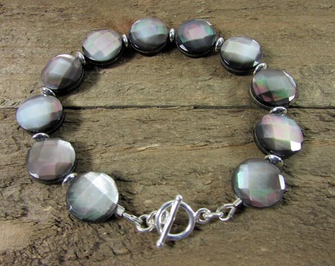Black Iridescent Shell & Sterling Silver Bracelet, Faceted Shell Bracelet