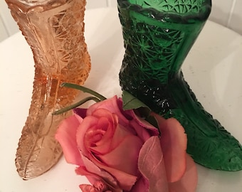 Vintage Fenton Glass Boot ~ Daisy Button Glass Shoe Boot ~ Collectible Glass Figures ~ Gift For Her ~ Pink Glass  ~ Green Glass