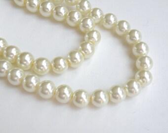 Ivory glass pearl beads round 8mm full strand 7763GB