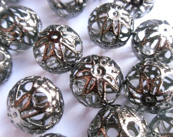 Gunmetal Hollow Oval Spacer Beads 18x16mm   -A3D3-2