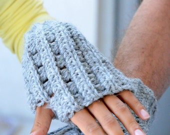 Crochet PATTERN knit look  Fingerless mittens gloves armwarmers for couples women men, DIY photo tutorial, Instant download