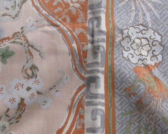 vintage sample fabric, lot of five fabrics, shades of BROWN AND BLUE vintage floral burlap