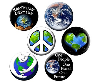 6 EARTH DAY PINS - 6 Small 1.25 inch Buttons - Every Day is Earth Day, Earth Hugger, Earth Heart and More - 6 S 1.25 inch Pin-Back Buttons
