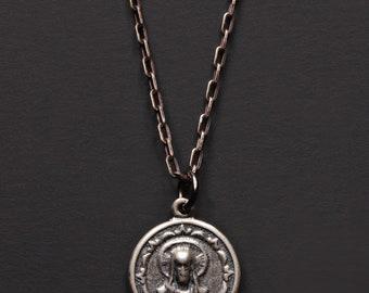 Jesus Medal - Sterling silver Jesus pendant necklace - Minimalist men's jewelry, simple pendant sterling silver mens necklace - silver chain