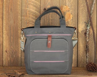 Dark Grey Canvas Diaper Bag, Tote Diaper Bag