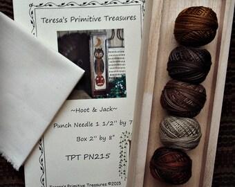 Punch Needle Kit Owl Pumpkin Moon Paper Pattern Valdani Threads Unfinished Wood Box Weavers Cloth
