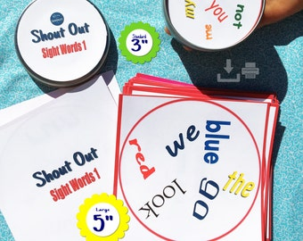 SIGHT WORDS 1 Matching Game BUNDLE Shout Out; Printable; 2 sizes; Solo, small group, class options; Dolch, preschool, kindergarten; Play