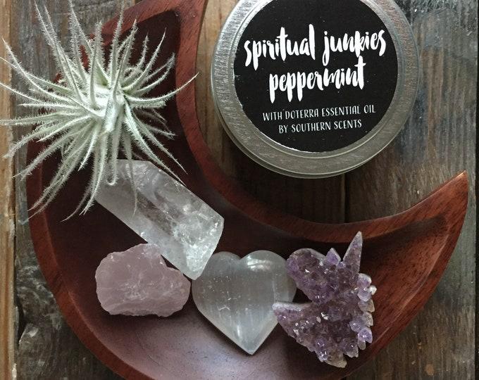Self Love | Amethyst Unicorn, Quartz, Rose Quartz, Selenite + Air Plant | Reiki Love Infused | Spiritual Junkies | Moon Altar | Soy Candle