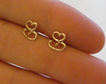 9ct gold Sassy Stud Earrings, Small Gold S shape studs, Fluid by Design, 9k gold studs