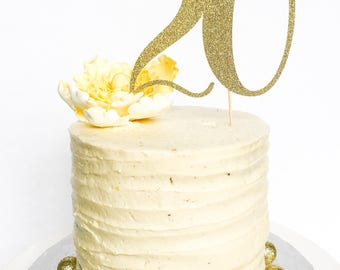 20 Birthday Cake Topper • Twenty Cake Topper • Gold Glitter Topper • Age Cake Topper • Number Cake Topper