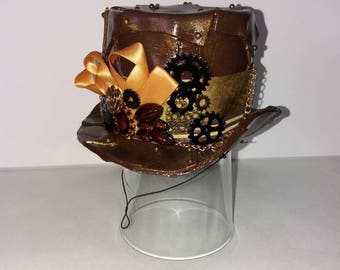 Steampunk Victoriana Gothic mini top/riding hat/fascinator