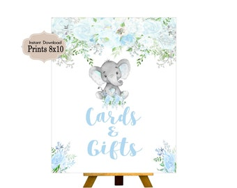 Cards & Gifts, Candy Table Sign, Baby Shower, Birthday Party, Baby Boy, Blue Elephant,Elephant, Flowers, Floral BE101