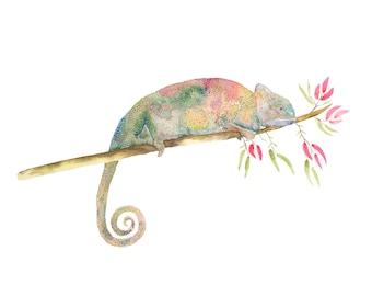 Chameleon Print - Watercolour Painting