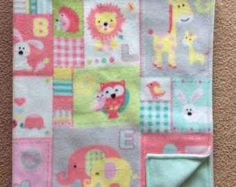 Crib Blanket, Fleece Zoo animal Blanket, Baby Blanket, Toddler Child Blanket, Tummy Time Blanket