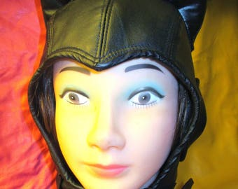 Arkham- Style Catwoman Aviator Hat in Black Leather, Cosplay Fetish Catwoman Cowl