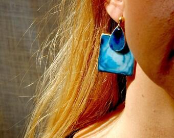 Blue Earrings, Porcelain Earrings, Large Statement Earrings, Big Earrings, Stude Large, Gift Ideas