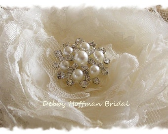 Wedding Hair Flower, Floral Hair Comb, Flower Hair Clip, Bridal Wedding Flower, Wedding Headpiece, Flower with Pearls & Crystals, No. 106F4