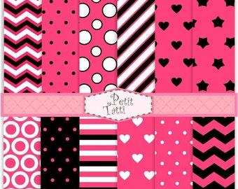 ON SALE scrapbook papers, Digital paper pack -color No.28, digital paper, hot pink and black, chevron patterns,polka dots