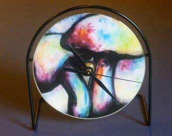 Colorful Mushroom Recycled CD Clock Art