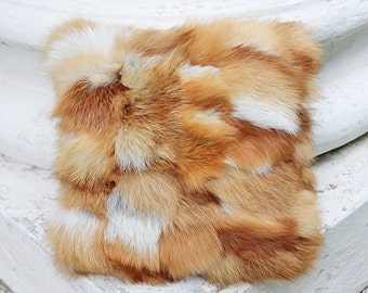 Two Fox fur pillow  Red fur pillow cover Fur pillows Fur accent pillow Fur cushion Fur cushion cover Plush fur pillow fur toss pillow