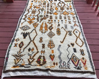 Vintage Hand- Knotted Azilal Moroccan Rug - ivory with shades of orange rust & brown