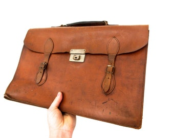 Mid Century Vintage Leather Satchel with Original Straps and Clasp - Fleet Street, London