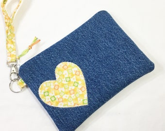 Denim and Yellow Heart Cotton Wristlet/Zippered Pouch/Change Purse/Cell Phone Bag~Natalie Wristlet by Allica Designs Free Shipping in US