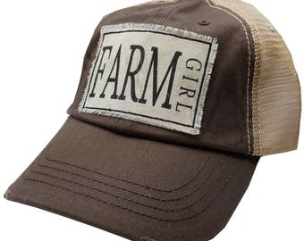 "Womens Baseball Hat, Womens Baseball Caps, Womens hats, Womens Caps, Trucker Cap, ""Farm Girl"" Trucker Hat, Ladies Trucker Hat, Hats Cute Hat"